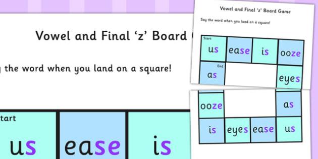 Vowel and Final 'Z' Board Game - Vowel, Final, Z sound, game