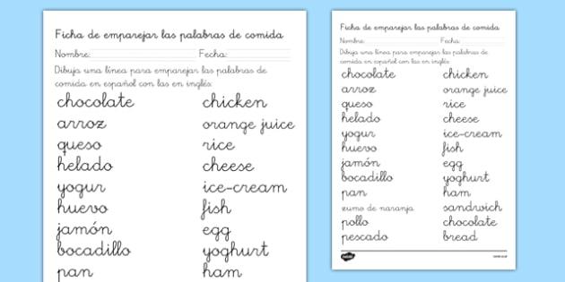 Ficha de emparejar palabras de comida en inglés - ficha, comida, vocabulario, inglés