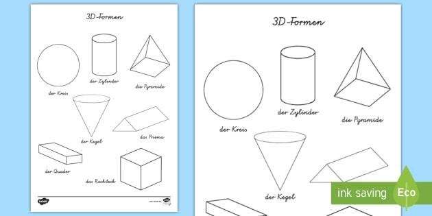 3D Formen Anmalbilder - Mathe, Geometrie, Figuren, Flächen