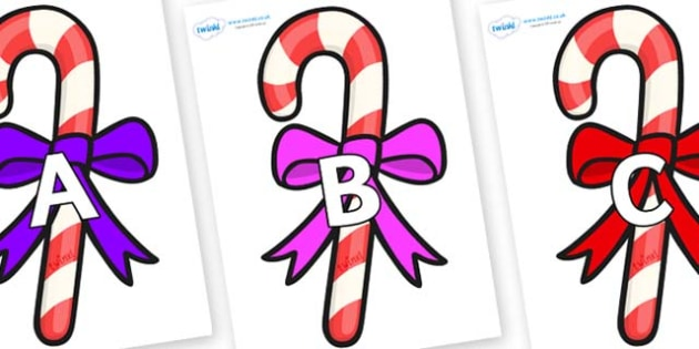 A-Z Alphabet on Candy Canes (Bows) - A-Z, A4, display, Alphabet frieze, Display letters, Letter posters, A-Z letters, Alphabet flashcards