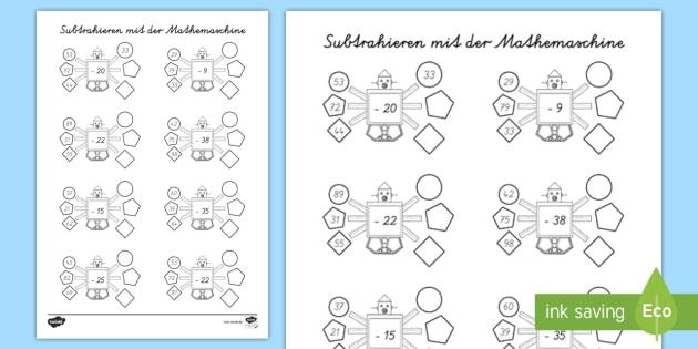 NEW * Subtraktion bis 100 mit der Mathemaschine Arbeitsblatt