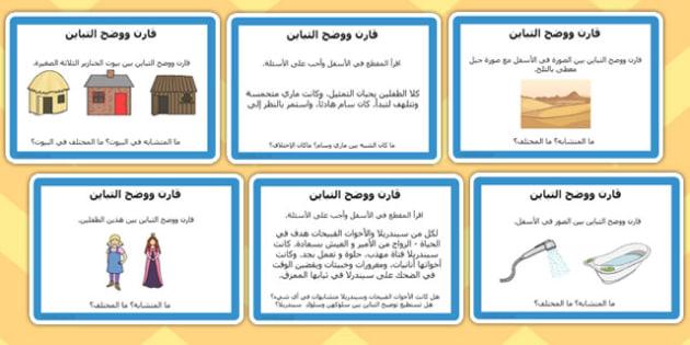 بطاقات القراءة الموجهة  المقارنة والتباين - موارد المعلم