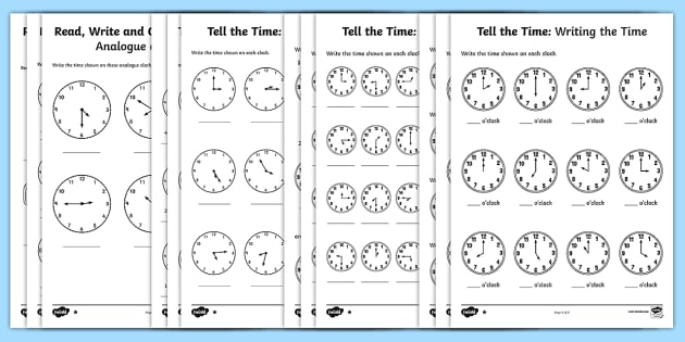 Tell the Time Differentiated Activity Sheets Maths Resource Pack - Tell the time to the hour and half past the hour and draw the hands on a clock face to show these ti