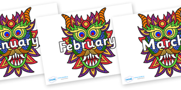 Months of the Year on Chinese New Year Dragon Mask - Months of the Year, Months poster, Months display, display, poster, frieze, Months, month, January, February, March, April, May, June, July, August, September