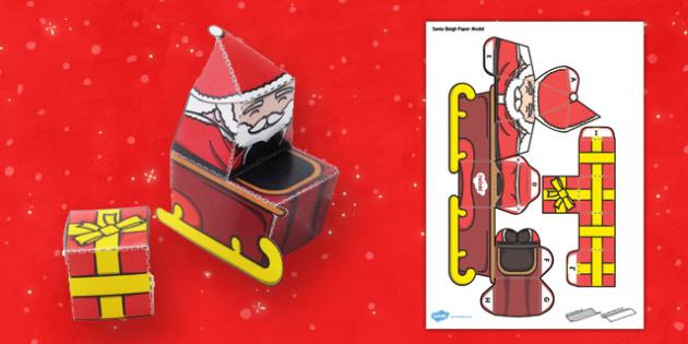 Santa Sleigh Paper Model - santa, sleigh, paper model, craft