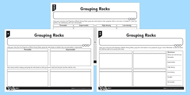 Grouping Rocks Worksheet Activity Sheet Activity Grouping