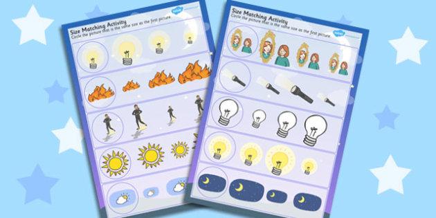Light and Dark Size Matching Worksheets - light, dark, size