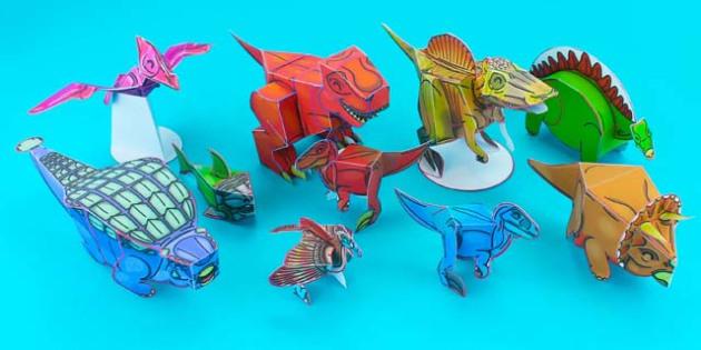 3D Dinosaur Paper Models - 3d dinosaur, 3d, dinosaur, paper models, paper, model, craft, paper craft, activity