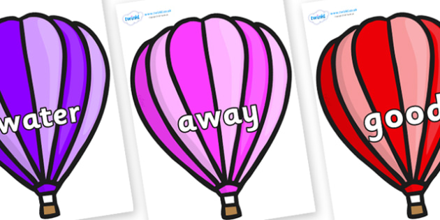 Next 200 Common Words on Hot Air Balloons (Stripes) - Next 200 Common Words on  - DfES Letters and Sounds, Letters and Sounds, Letters and sounds words, Common words, 200 common words