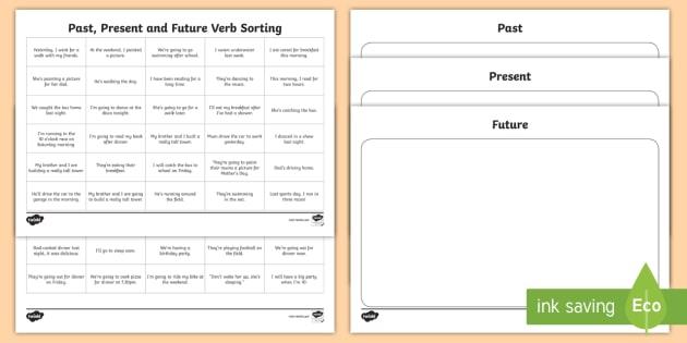 Past, Present & Future Verbs In Sentences Sorting Worksheet