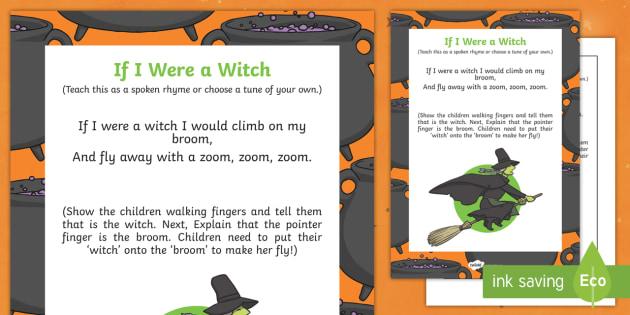 If I Were A Witch Rhyme - halloween, rhyme, eyfs, early years, witch, if I was a witch, were witch