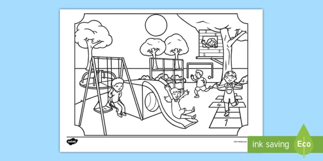 At The Park Colouring Page Teacher Made