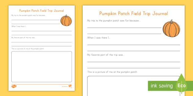 pumpkin patch field trip journal writing worksheet activity