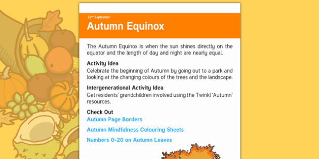 Elderly Care Calendar Planning September 2016 Autumn Equinox - Elderly Care, Calendar Planning, Care Homes, Activity Co-ordinators, Support, September 2016