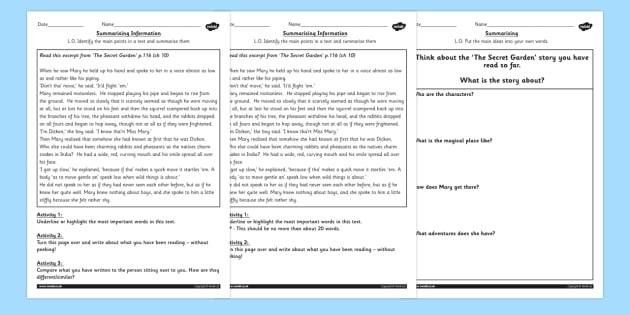 The Secret Garden Summarising Practice Differentiated Worksheets