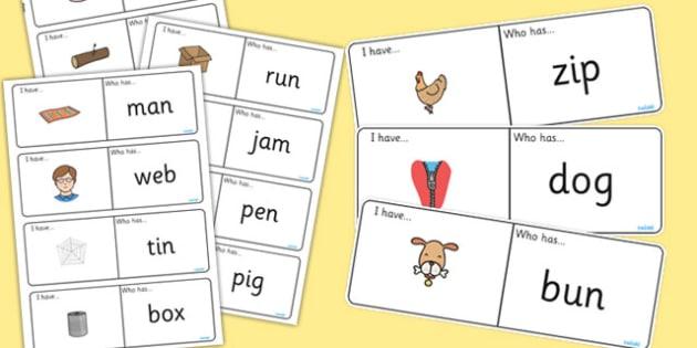 CVC Loop Cards - cvc, loop cards, words, I have, who has, loop