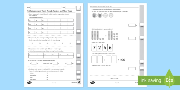 Year 2 Maths Assessment Number and Place Value Test 1 ...