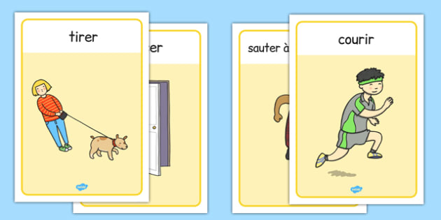 Verb Action Posters French - french, verb, display, poster, sign, verbs, action, action word, mats, word mat, writing aid, ks2, grammar, English, learning to write