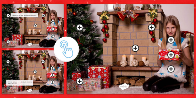 Christmas Picture Hotspots French - Christmas, French, Noël, picture, description, questions, cheminée, cadeau, sapin, décoration,Fre