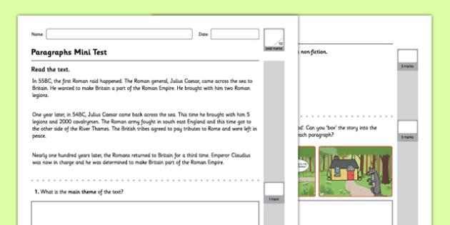 Paragraphs Test - GPS, spelling, punctuation, grammar, stories, non-fiction
