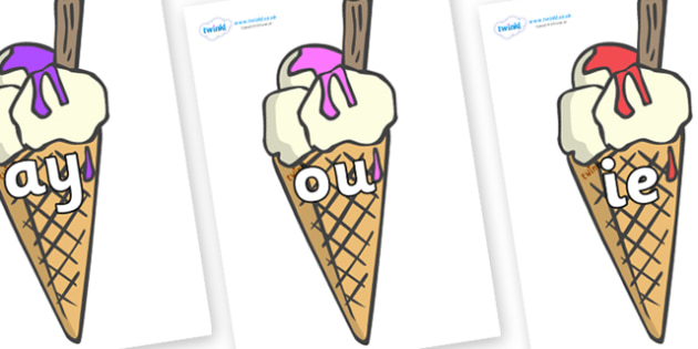 Phase 5 Phonemes on Ice Creams to Support Teaching on The Very Hungry Caterpillar - Phonemes, phoneme, Phase 5, Phase five, Foundation, Literacy, Letters and Sounds, DfES, display
