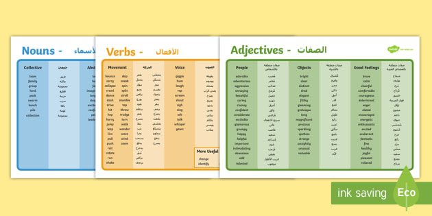 Word Mat Pack - Adjectives, Adverbs and Verbs Arabic/English - adjective, adverb, verb, adjectves, adejctives, adjetives, verbsw, djectives, verbss, adjectvies, ad