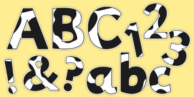 Cow Print Display Letters Numbers and Symbols Pack - cow print, display lettering, numbers, display, letters, symbols, pack