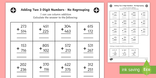 Year 3 Adding Two 3Digit Numbers in a Column with No Regrouping – Adding Two Digit Numbers with Regrouping Worksheets