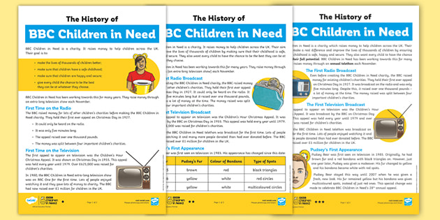 LKS2 The History of BBC Children in Need Differentiated Reading Comprehension Activity