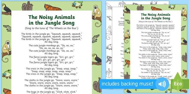 The Noisy Animals In The Jungle Song Teacher Made