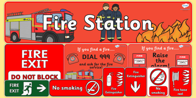 Fire Station Role Play Pack - Fire station Role Play, fire station, fire station resources, fire service, fire fighter, fire man, fire engine, people who help us, emergency, fire hose, fireman's pole, helmet, siren, fire, role play, display, poster,