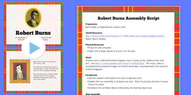 Robert Burns Assembly Pack - assembly, pack, robert, burns