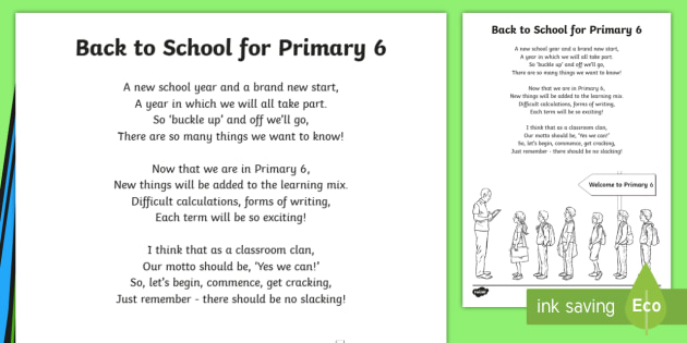 Back To School Primary 6 Poem - back to school, beginning