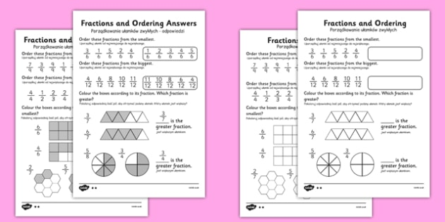 Fractions and Ordering Worksheet Polish Translation - polish, fractions, ordering fractions, putting fractions in order, ordering fractions worksheets, greater and smaller fractions