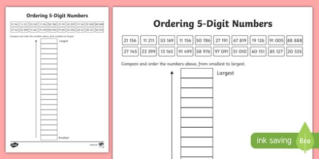 Place Value Ordering 5-Digit Numbers Worksheet / Worksheet-Scottish