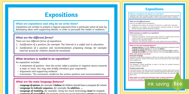 What Is An Exposition A4 Display Poster Literacy What Is An