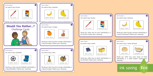 Would You Rather...? Challenge Cards - Year 1, Maths Mastery, multiplication, multiply, times, lots of, product, divide, division, share, e