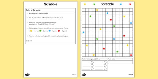Scrabble Spanish Board Game - spanish, board game, juego de mesa, template, vocabulary practice, scrabble