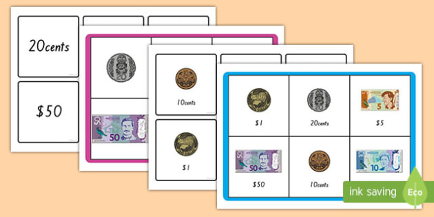 New Zealand Money Recognition Matching Bingo Game - nz, new zealand, money recognition, matching, match, bingo, game, activity