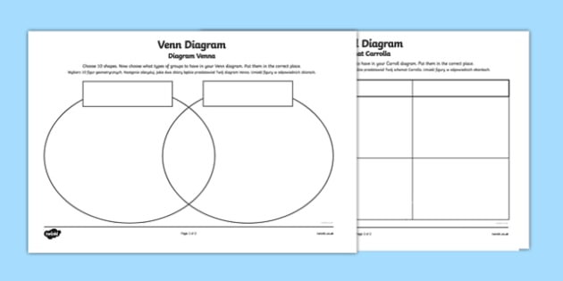 Shapes Carroll and Venn Diagram Activity Sheets Higher Ability English/Polish