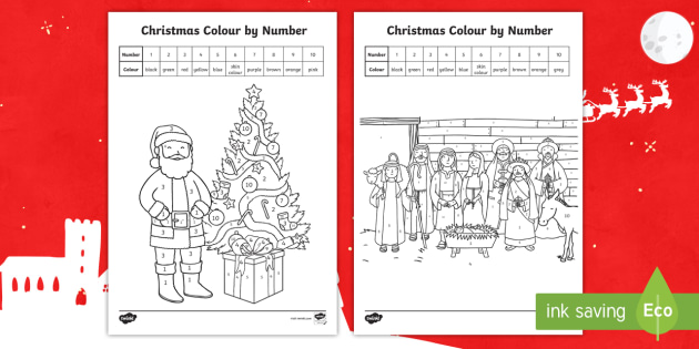 ks1 christmas colour by number colouring pages numbers to 10 number recognition colouring
