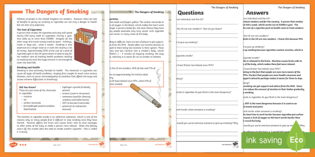 The Dangers of Smoking Differentiated Reading Comprehension Activity - KS2, English, reading, comprehension, Science, human body, smoking