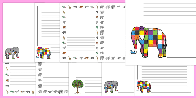 Page Borders to Support Teaching on Elmer - Elmer, Elmer the elephant, resources, Elmer story, patchwork elephant, PSHE, PSE, David McKee, colours, patterns, story, story book, story book resources, story sequencing, story resources, Literacy, writin