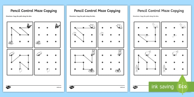 Pencil Control Maze Copying Activity Sheet Pack - pencil control, activity, worksheet