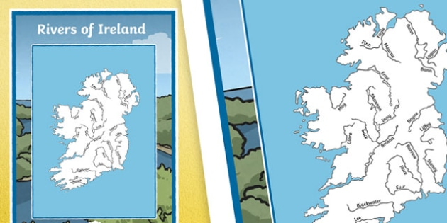 Map Of Ireland With Rivers.Rivers Of Ireland Large Display Poster Irish