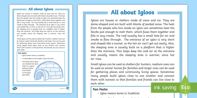 All about Igloos Fact File - igloo, inuit, aboriginal, indigenous