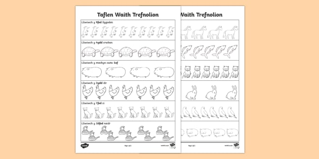 Taflen Waith Trefnolion - trefnolion, rhif, mathemateg,Welsh
