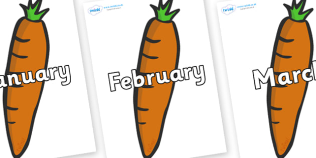 Months of the Year on Carrots - Months of the Year, Months poster, Months display, display, poster, frieze, Months, month, January, February, March, April, May, June, July, August, September