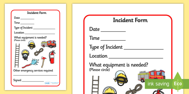 Fire Incident Form  Fire Station Role Play Fire Station Fire