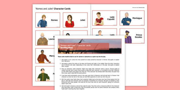 Romeo and Juliet Character Cards Pack